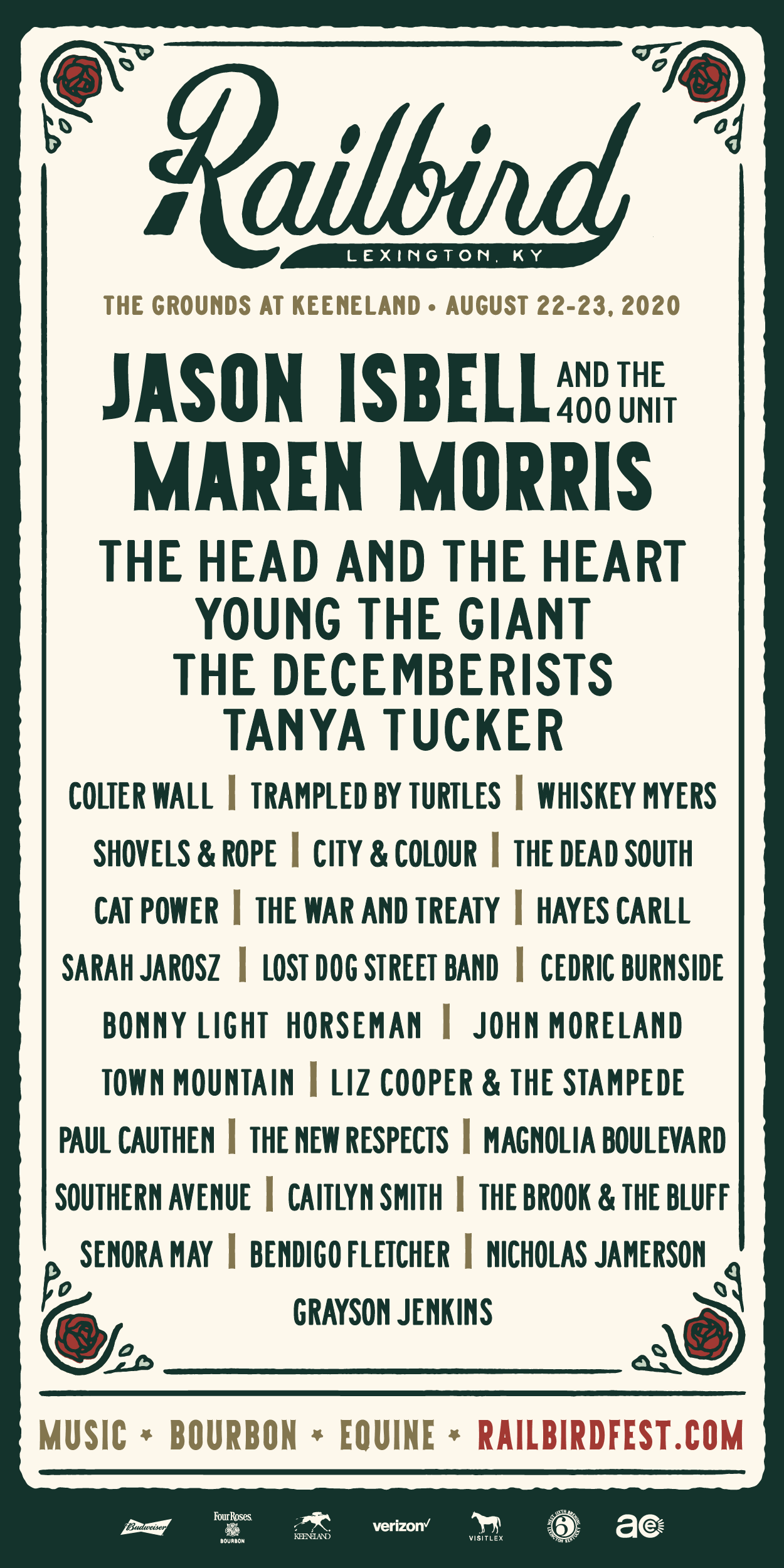 Railbird Festival: Jason Isbell / Maren Morris & more - August 22-23 in Lexington, KY