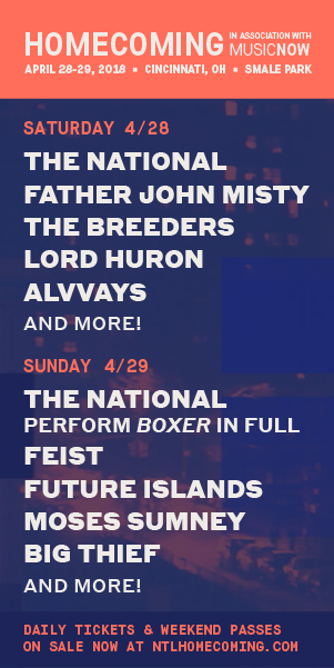 Homecoming - April 28-29, 2018 at Smale Park - 2+ Stages / 20+ Artists - The National perform 2 sets over 2 nights